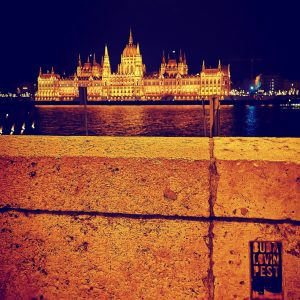 A nocturnal picture of a lit Hungarian Parliament, taken from the Buda side of Budapest