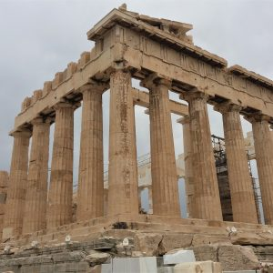 A picture of the western side of the Parthenon located atop a hill dominating Athens, Greece