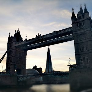 A filtered shot of the Tower Bridge in London, UK