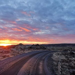 A picture of the Icelandic landscape at dusk.