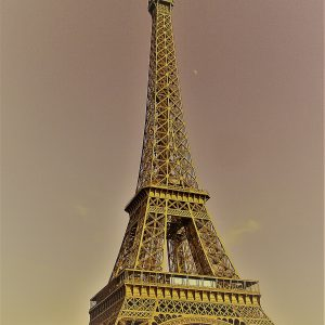 A filtered shot of the Tour Eiffel in Paris, taken in 2012.