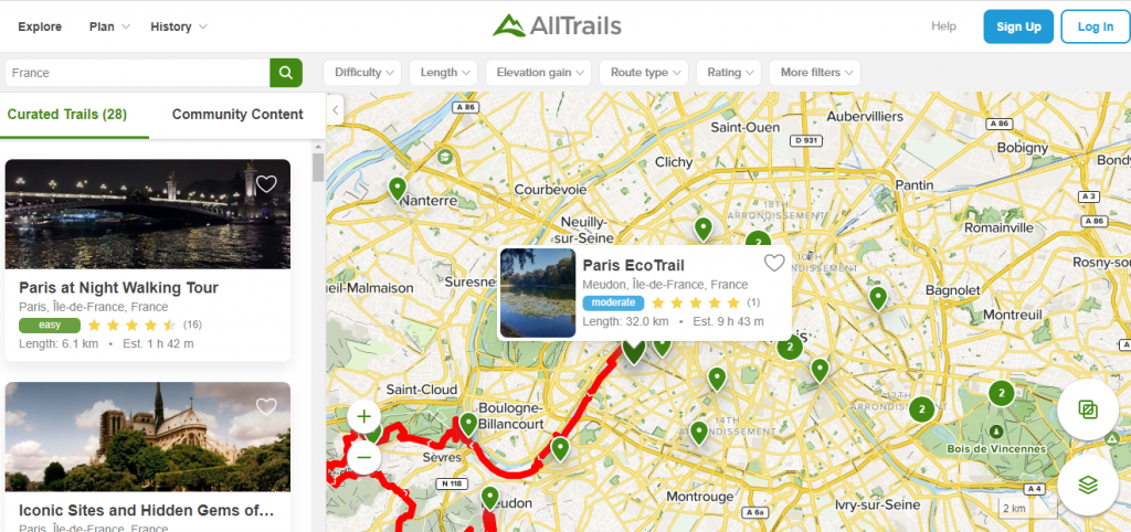 Best travel app - All Trails