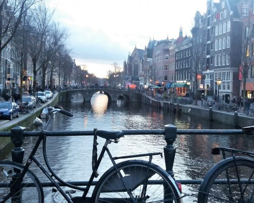 A picture of one of the many artificial canals running through Amsterdam