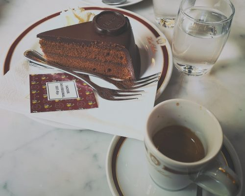 A picture of the Original Sachertorter served at Cafe Sacher