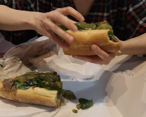 A picture of the best cheesesteak served by DINic's in Philadelphia
