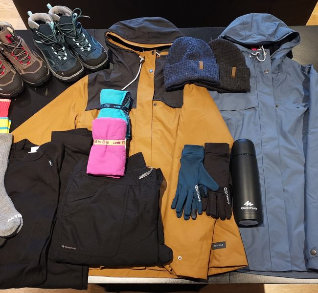 A picture of the equipment and gear bought prior to a trip to Iceland