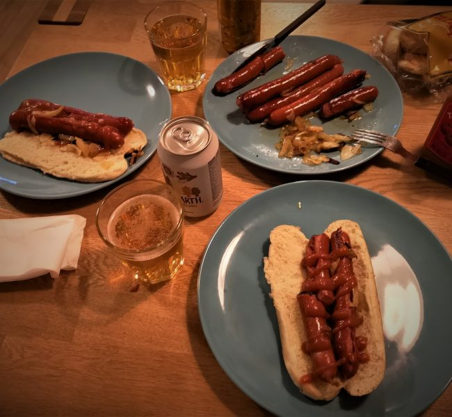A picture of a home-made dinner in Iceland, featuring pylsur (Icelandic hot dog)