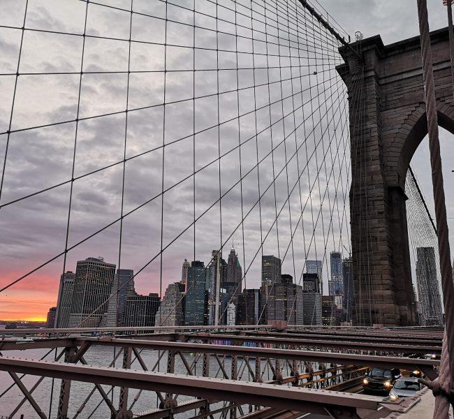 View over Manhattan from the Brooklyn Bridge - New York